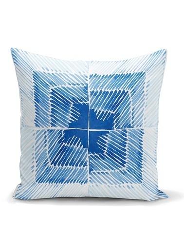 Real Homes Mavi Kareli Resimli Dijital Baskılı Modern Kırlent Kılıfı Renkli